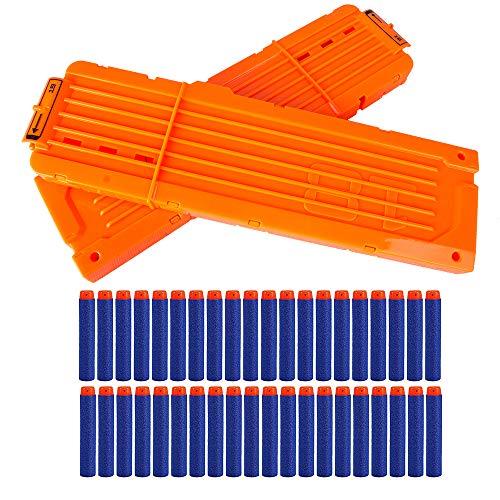 LVHERO 2 Stück Nerf N Strike Blaster Kompatibler 18er Clip Magazine Schnell Nachladen Clip mit 40 Stück 7,2cm Pfeile Dart Bullets