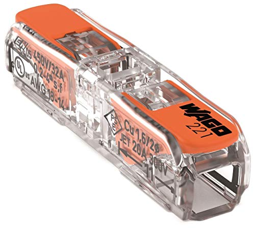 WAGO Durchgangsverbinder mit Hebel für alle Leiterarten, max. 4 mm², 2 Leiter, Gehäusefarbe transparent, Deckelfarbe transparent, Umgebungstemperatur max. 85 °C (T85), 4,00 mm², transparent