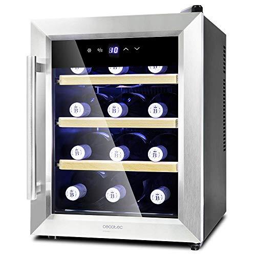 Cecotec Weinkühlschrank von 8-16 Flaschen. Tür aus Kristall- Design, Paneel Taktil und LED Bildschirm. (12, Holz)