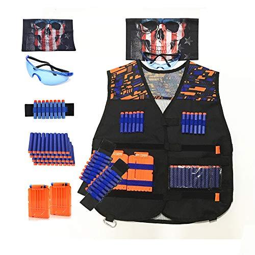 Astory Kids Tactical Vest, 47er Pack Tactical Vest Jacket Kit für Nerf Guns N-Strike Elite-Serie mit 40 Stück Nachfüllpfeilen, 2 Dart-Nachladeclips, 2 Armbändern, 1 Schutzbrille, 1 Schädelmaske