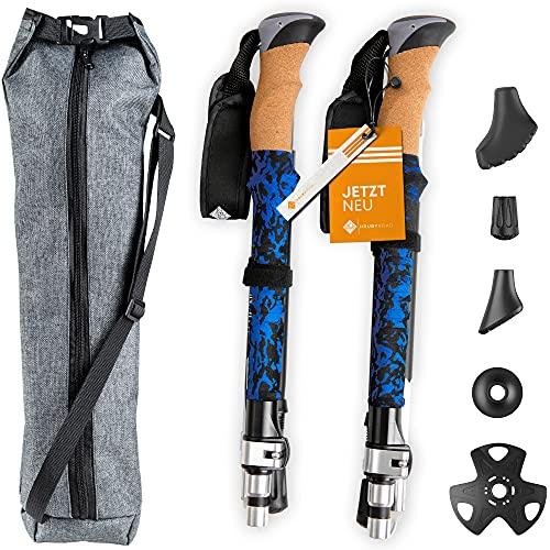 HrubyRoad® Nordic Walking Stöcke [Ultra STABIL] im Set mit 5 Aufsätzen & passender Tasche   100% Zuverlässig & Sicher   Teleskop Wanderstöcke für jedes Terrain   Verstellbar & Faltbar