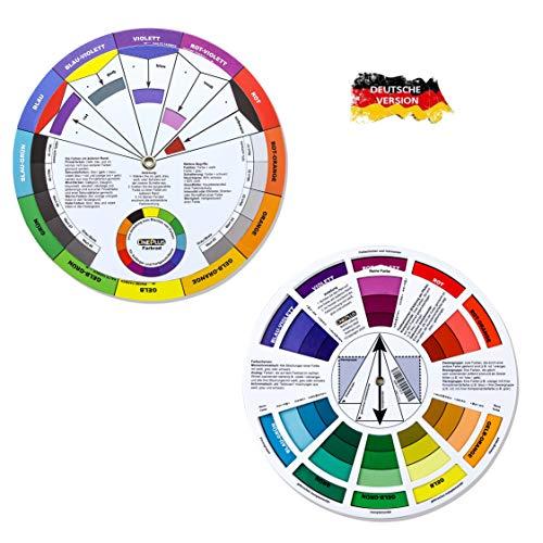 ONE+PLUS, 2 Stück, Color Wheel, Farbmischrad, Farbrad, Farbkreis Drehscheibe deusch, Pocket Colour Wheel, für Malen, Design und Makeup (Deutsche Version)