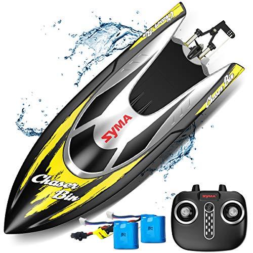 Ferngesteuertes Boot, SYMA 2.4GHz RC Boot für Schwimmbad und See, 25 km/h, Schnell boote mit Fernbedienung, wassergekühltes System, Schiff Modell Spielzeug für Kinder ab 8 Jahre oder Erwachsene (gelb)