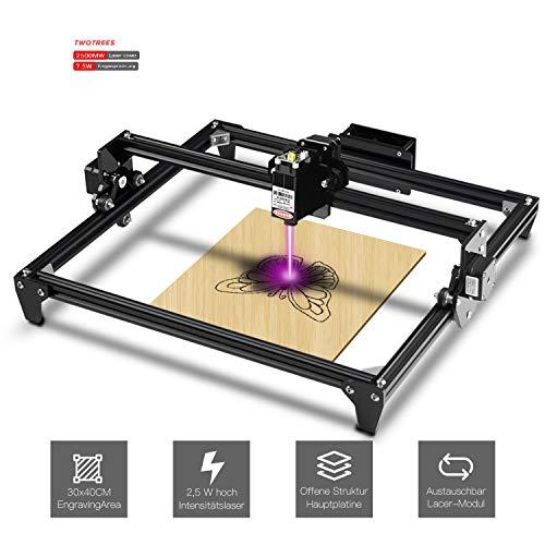 Twotrees DIY CNC Graviermaschine Laserengraver Kits 440X480 mm 12 V USB Desktop Laser Engraver (Schwarz, 2500mw)…