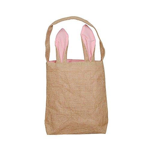 sdtdia Easter Bunny Taschen Osterei Hunt Basket Bag Bunny Ohren Design Ostern Geschenktüte Lustige DIY Geschenktüte für Ihre Kinder Party Geschenktüten (Rosa)