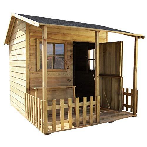 GardeTech Spielhaus Malvina aus FCS-Holz mit überdachter Terrasse, B190,5 x T143 x H159 cm, Gewicht 190 kg, TÜV | Wasserfestes Dach mit Pappe, Geteilte Holztür, 2 Plexiglas-Fenster, Sitzbank, Zaun