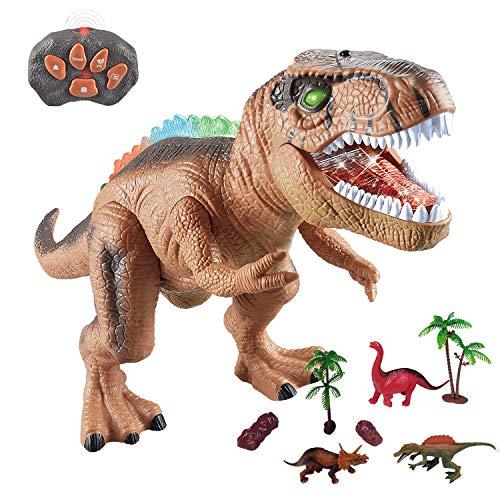WISHTIME Fernbedienung Dinosaurier ElectricToy Kinder RC Tierspielzeug LED Leuchten Dinosaurier Gehen und Brüllen Realistische T-Rex Roboter Spielzeug Für Kleinkinder Jungen Mädchen