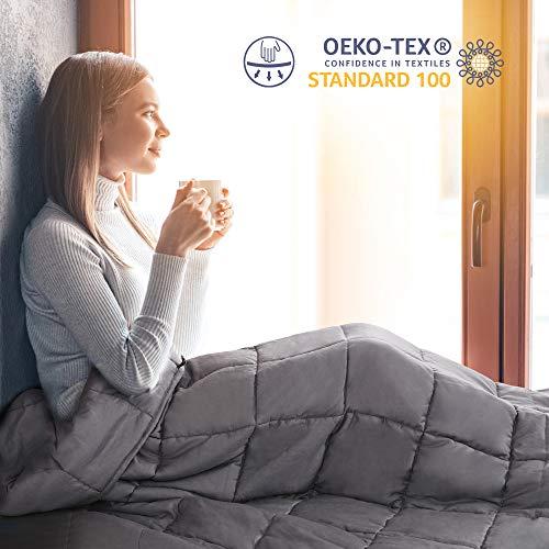 viewstar Gewichtsdecke für Erwachsene, 6.8kg Therapiedecke Anti Stress zum besseren Schlaf, Schwere Decke für Angst und Schlafstörungen, Weighted Blanket aus Baumwolle, Schwerkraftdecke Grau 122x183cm