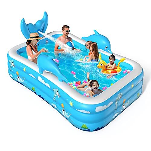 VOXON Aufblasbarer Pool 250 x 180 x 55CM Sprüh Planschbecken Kinderbecken, Family Pool/Schimmbecken/Kinderpool