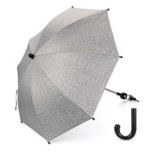 Luchild Universal Sonnenschirm Regenschirm für Kinderwagen & Buggy UV Schutz 50+ Babywagen Schirm mit Universal Halterung mit 360° flexiblen Schwanenhals (Grau)