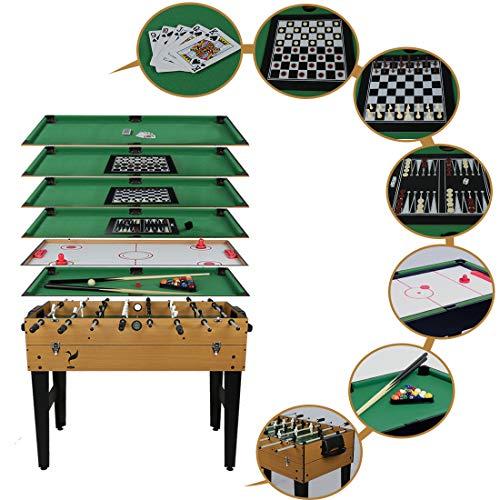 Hyner 7-in-1 Multifunktionaler Spieltisch mit Tischfußball, Billardkugeln, Airhockey, Schach, Dame, Backgammon, Blackjack, Braun, 105 x 57 x 83 cm