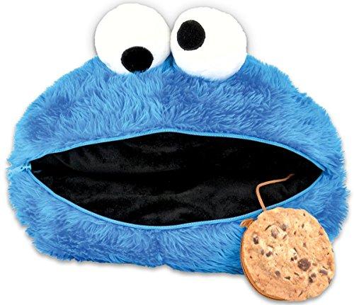 Close Up Sesamstrasse Kissen  Krümelmonsterkopf/Küschelkissen in blau mit Cookietäschchen