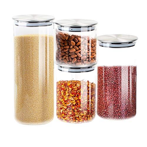 T-SUN 4er Set Glas Vorratsdosen, Vorratsglas aus Borosilikatglas Vorratsbehälter für Lebensmittel mit Edelstahldeckel für Home Küche oder Restaurant & Müslispender