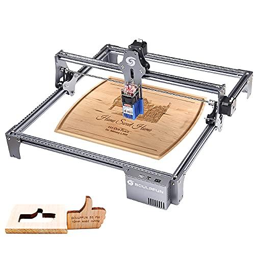 S6 Pro Laser Graviermaschine 60W,Lasergraviermaschine Augenschutz Fixfokus,DIY Schnelles Schnitzen und Schneiden,Schnelle Installation,A4 Stahlunterlage, 410x420mm für Metall Holz Acryl Leder