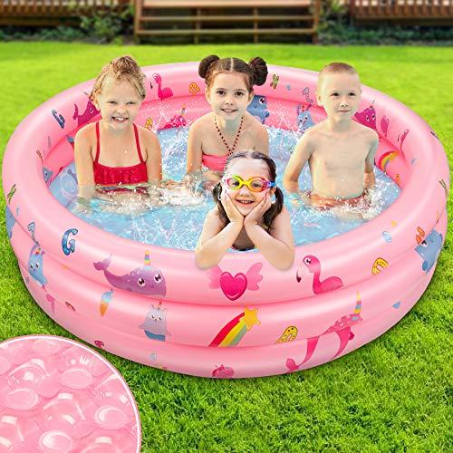 Jojoin Aufblasbarer Planschbecken, Kinderpool mit Rutschfestem Weichem Blasenboden und Muster, 115 cm großes Sommerschwimmbad für Kleinkinder für Partyspiele, Alter 3+