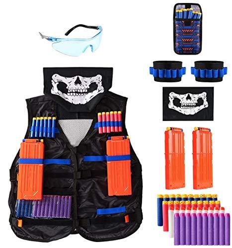 Locisne Dschungel Taktische Weste Jacke Kit für Nerf Spielzeugpistole N-Strike Elite-Serie (w/40 Schaum Darts+Schutzbrille+Gesichtsmaske+2 Reload Clip+2 Armband+Dart Bag)
