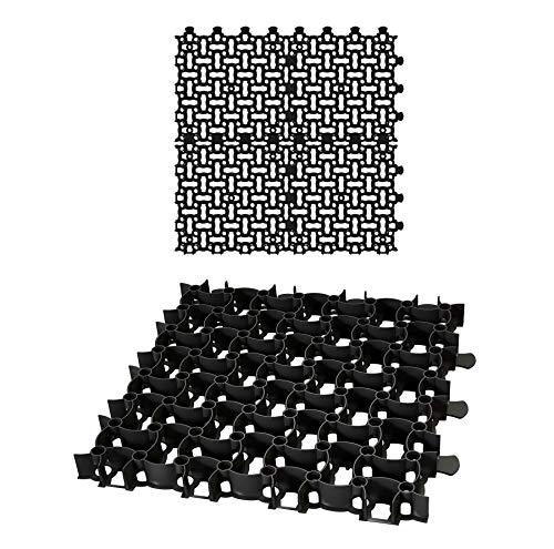 4x Rasengitter Paddockplatte SCHWARZ 50x50 cm Reitplatzmatten Rasenmatten Rasenwaben Kiesgitter Parkplatzrasen 1 m