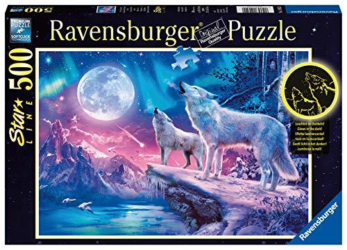 Ravensburger Puzzle 14952 - Wolf im Nordlicht - 500 Teile Puzzle für Erwachsene und Kinder ab 10 Jahren, Leuchtpuzzle, Leuchtet im Dunkeln