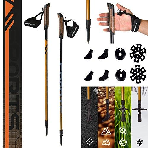 MSPORTS Nordic Walking Stöcke Carbon Premium - aus hochwertigem Carbon - Superleicht - individuell einstellbar - auswählbar mit Tragetasche - Walking Sticks (Nordic Walking Stöcke Carbon + Tasche)