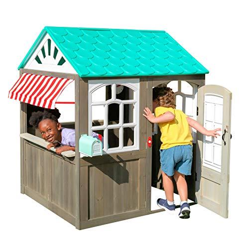 KidKraft 419 Coastal Cottage Outdoor Spielhaus mit gestreifter Markise im Café-Stil - Kinderspielhaus aus Holz für den Garten