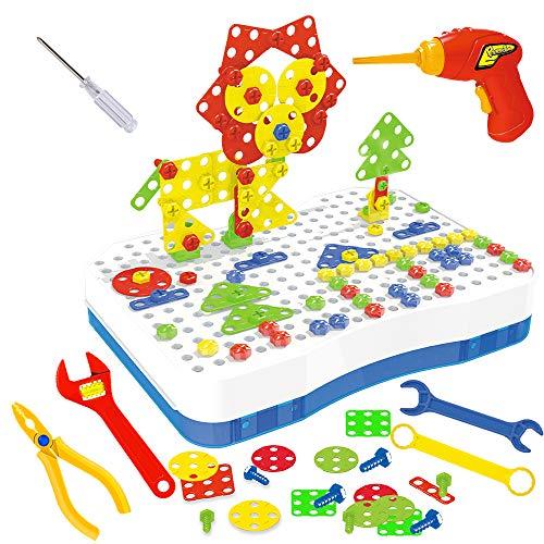 CENOVE Mosaik Steckspiel Schraube Spielzeug - 3D Puzzle Pädagogisches Spielzeuge mit Elektronischem Bohrer Baustein Spielzeug Geschenkidee für Kinder Junge Mädchen ab 3 4 5 Jahre Alt, 205 Pcs