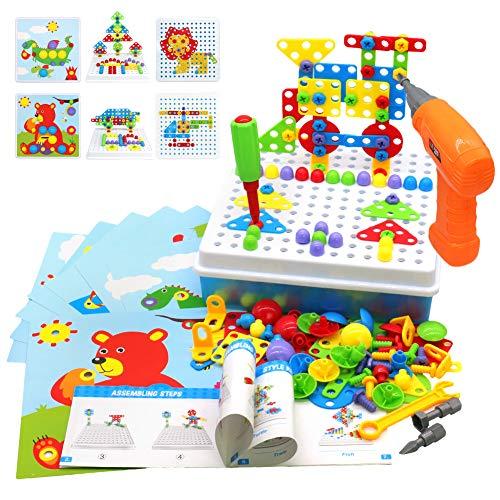 Akokie Steckspiel Montessori Spielzeug mit Bohrmaschine Pädagogisch Kreativ Spielzeug 3D Puzzle Mosaik Spiel Werkzeugkoffer Kinder ab 3 4 5 6 Jahre für Jungen Mädchen (223 Stücke)