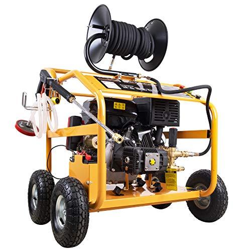 Strahlemann SM-LB250B Benzin-Hochdruckreiniger Dampfstrahler Kaltwaschgerät mit 250 Bar Arbeitsdruck und 13PS OHV 4-Takt Benzinmotor 389 CCM Luftgekühlt