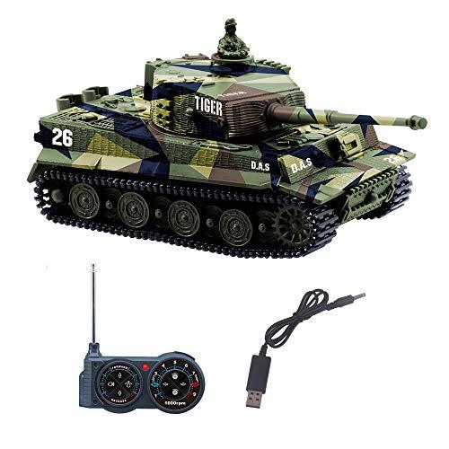 YouCute Mini RC Panzer mit USB Ladekabel Fernbedienung Panzer Panzer 1:72 Deutscher Tiger I mit Sound, Rotierendem Revolver und Rückstoß Aktion mit deutsches Handbuch 27MHz(Grün)