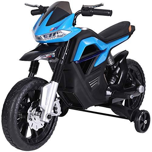 HOMCOM Kindermotorrad Kinder-Elektromotorrad Elektro-Motorrad für Kinder ab 3 Jahren Licht Musik MP3 Elektrofahrzeug mit Stützrädern maximal 3 km/h Metall + Kunststoff Blau 105 x 52,3 x 62,3 cm