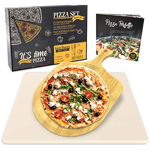 GARCON Pizzastein für Backofen und Gasgrill - Vergleichssieger 2019-3er Set inkl. Pizza Stone, Pizzaschieber & Kochbuch zum Pizza Backen