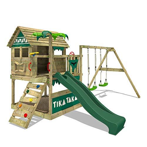FATMOOSE Spielturm TikaTaka Town XXL Kletterturm mit Doppelschaukel, grüne Rutsche und viel Spiel-Zubehör, grüne Rutsche