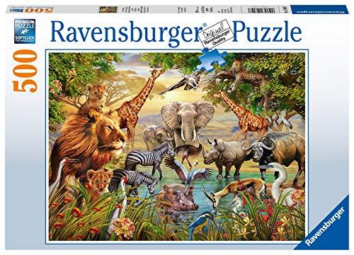Ravensburger Puzzle 14809 - Am Wasserloch - 500 Teile Puzzle für Erwachsene und Kinder ab 10 Jahren, Puzzle mit Tier-Motiv