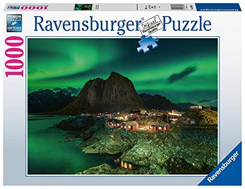 Ravensburger Puzzle 1000 Teile - Aurora Borealis Norwegen, Nordlichter über Hamnoy - Puzzle für Erwachsene und Kinder ab 14 Jahren,Puzzle mit Norwegen-Motiv,Amazon Sonderedition [Exklusiv bei Amazon]