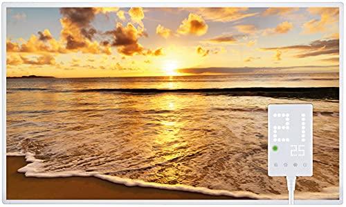 Heidenfeld Infrarotheizung HF-HP105 600 Watt Strand Fotomotiv + Steckdosenthermostat HF-DT100 - 10 Jahre Garantie - Deutsche Qualitätsmarke - TÜV GS - Für 8 - 16 m² Räume (600 Watt, Strand)