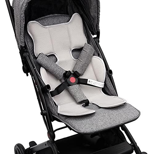 Luchild Atmungsaktive Sitzeinlage Universal Sommer Sitzauflage für Kinderwagen, Buggy, Kindersitz und Babyschale - Kühlt und schützt den Sitzbezug vor Flecken (Updated Grau)