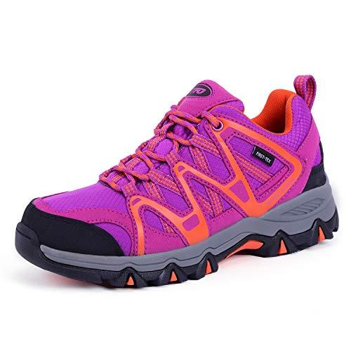 TFO Damen Trekking & Wanderschuhe Atmungsaktive Walkingschuhe Sport Outdoor Schuhe mit Gedämpfter Sohle, Violett Orange, 37.5 EU
