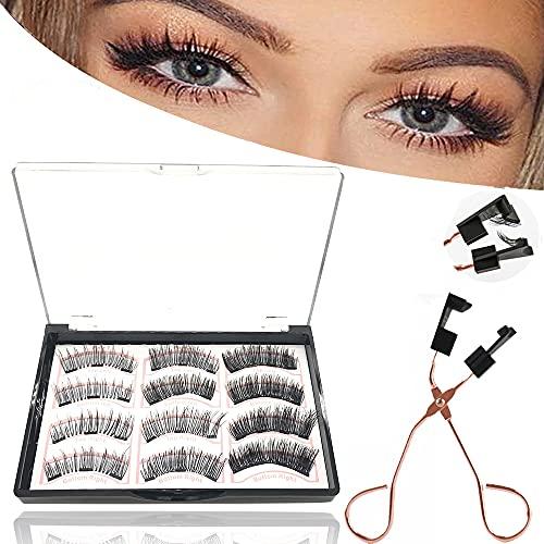 Magnetische Wimpern, 3d Magnet Wimpern Set, Natural Look Wiederverwendbar Künstliche Wimpern mit 3 Magneten, Dual Magneten Magnetic False Eyelashes
