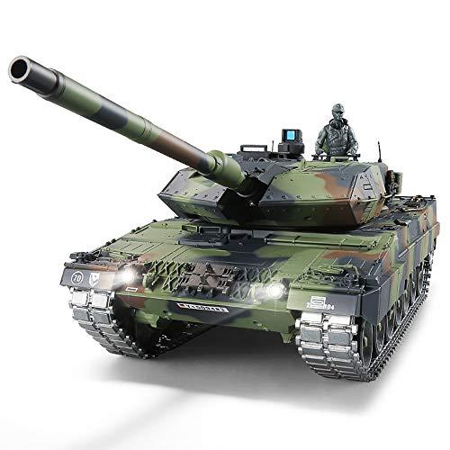 RC Panzer mit Schussfunktion ferngsteuert 'German Leopard 2A6' Heng Long 1:16 mit R&S, Metallgetriebe (Stahl) und Metallketten -2,4Ghz -V 6.0 - PRO