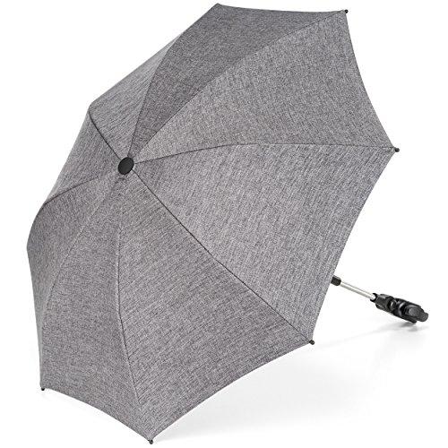 Universal Sonnenschirm Sonnenschutz für Kinderwagen & Buggy - UV Schutz 50+ / 73 cm Durchmesser/biegsam/Universalhalterung für Rund- und Ovalrohre - Melange Grau
