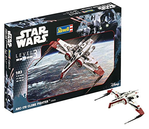 Revell Modellbausatz Star Wars ARC-170 Fighter im Maßstab 1:83, Level 3, originalgetreue Nachbildung mit vielen Details, einfaches Kleben und Bemalen, 03608
