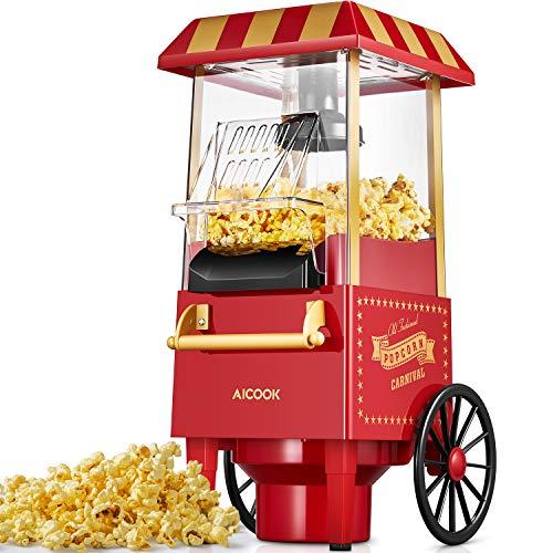 Popcornmaschine Retro, Aicook™ 1200W für Zuhause Popcorn Maschine Maker mit Heissluft, Popcorn Machine ohne Fett Fettfrei Ölfrei, Eine-Taste-Operation, Popcorn Popper, Rot[Energieklasse A+++]