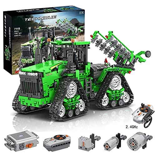 MMOC Technik Traktor Technic Ferngesteuert Traktor, Winner 7119, 1706 Teile Technik Raupentraktor Bausatz mit Motoren Klemmbausteine Kompatibel mit Lego Technic