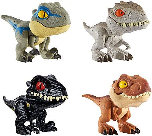 Jurassic World GKH02 - Dinosaurier Spielzeug Schnapp Dinos zum Sammeln Dinosaurier 4er Geschenkset, Rucksack und Taschen Spielzeug ab 4 Jahren