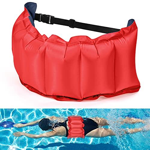 KATELUO Schwimmgürtel, Aufblasbarer Schwimmgürtel Verstellbarer Schwimmgurt Schwimmender Taillengürtel Jogging Gürtel Wassersport Schwimmhilfe für Kinder Erwachsene Poolspiele (Marineblau)