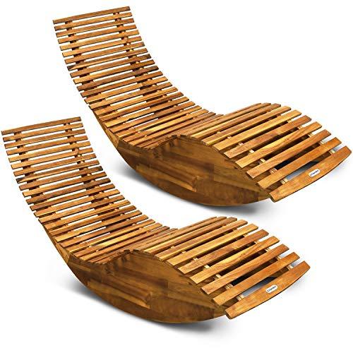 Casaria 2X Schwungliege FSC®-zertifiziertes Akazienholz Ergonomisch Wippfunktion Gartenliege Sonnenliege Relaxliege Saunaliege