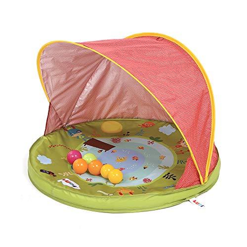 LUDI Anti-UV Schutzzelt Wind- und Sonnenschutz | Mit 6 Bällen | Schutz- und Planschbecken | UV Schutzhaube, Strandmuschel 50+ | Ab Geburt
