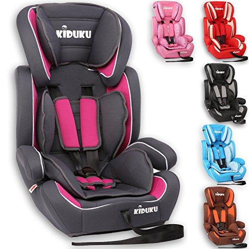 KIDUKU® Kindersitz 9-36 kg (1-12 Jahre) - Autositz ECE R44/04, Gruppe 1/2/3 Autokindersitz Kinderautositz, Grau/Pink