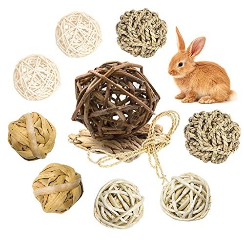 LLGL-EU 10-TLG Kaubälle, Hasen Kauspielzeug, Grasball Rattan-Bälle Rasenmatte Zahnpflege-Spielzeug für Kleintiere Hamster Kaninchen Meerschweinchen Chinchilla Rennmäuse (10Stk)