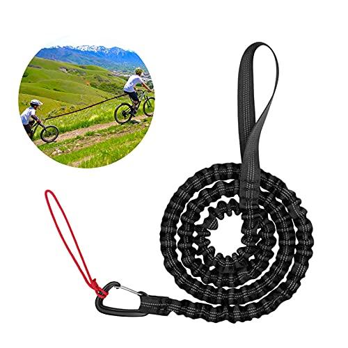 MIAODAM Abschleppseil Fahrrad Kinder, Kinder Dehnbares Bungee Seil Universell Strapazierfähig Elastisch Bungee-Seil, Kompatibel mit All Mountain Bikes (Schwarz)