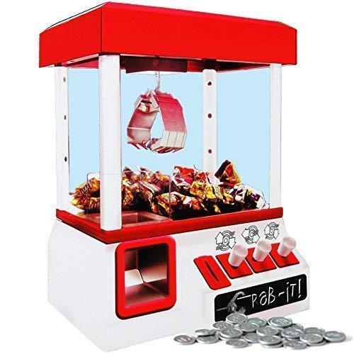 Dominiti Süßigkeitengreifer Candy Grabber mit Münzen in rot, Kirmis-Musik Süßigkeitenautomat, Süßigkeiten Party Automat für Zuhause, Greifarm, Greifautomat, Gadget Maschine Kindergeburtstag